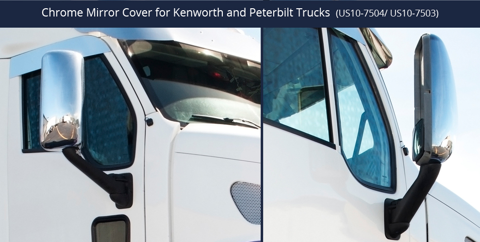 Chrome Mirror Cover Fits Peterbilt 387 587 And Kenworth